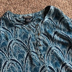 Lucky Brand XS Blue Western Print Blouse